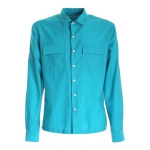 Brian Dales Male Pockets shirt in blue-green color Clothing plus size Clearance Sale 541CX2585