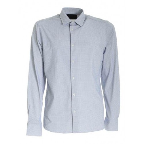 RRD Roberto Ricci Designs Young Men Printed shirt in white and blue Clothing plus size Comfort Clearance Sale 3ZDDI1067