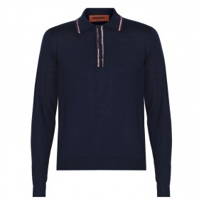 MISSONI Young Men Long Sleeve Polo Knit Shirt 90s Navy S70OO for sale near me on clearance 6EVQA8946
