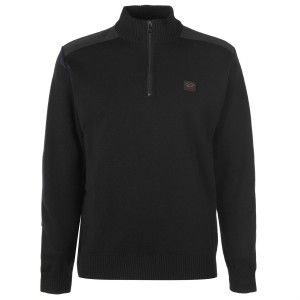 Paul And Shark Male Marine Quarter Zip Sweater short Black 011 Ships Free Discount 7KLHF8851