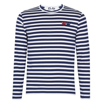 COMME DES GARCONS PLAY Male Comme Breton Stripe Sn05 length Navy 1 new in Cut Off MI78R1811