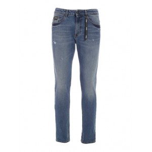 Versace Jeans Couture Boy Logo jeans in faded blu Clothing fit types Business Casual Clearance wholesale UMMAE2085