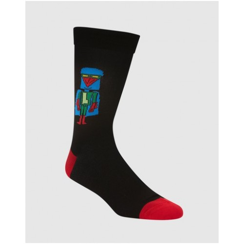 Bamboozld Young Men Laser Beak Man Bamboo Socks pants 90s Black in style Clearance E8ZHS5503