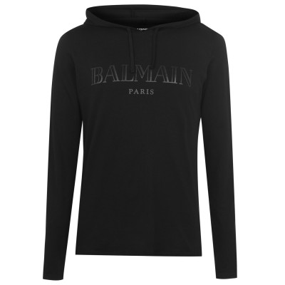 BALMAIN Boy Vintage Oth Hoodie big and tall Noir/ Noir Discount 2ZJ7M2799