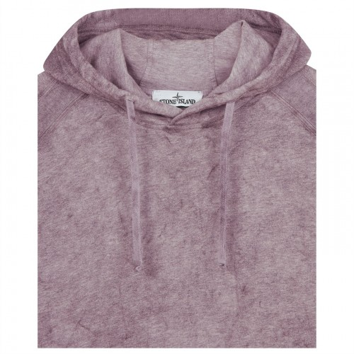 STONE ISLAND Male Dust Colour Mélange Cotton Jersey Hoodie sizes Rose Pink V1M86 AS67A397