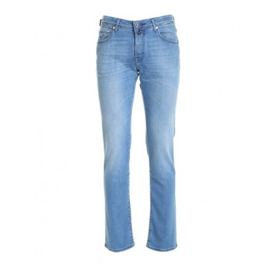 Jacob Cohën Young Men Blue logo jeans in faded light blue Clothing Cheap E3PCT742