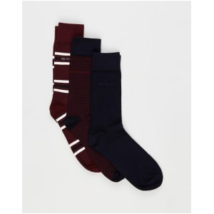 Gant Male 3-Pack Mixed Socks bottoms Port Red guide on clearance KZ21O3313