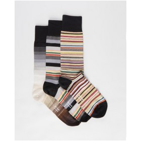 Paul Smith Male Signature Stripe Socks 3-Pack bottoms 90s Multi hot topic Online MOD4Y7477