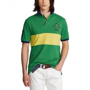 Polo Ralph Lauren Classic-Fit 3 Patch Color Block Short-Sleeve Mesh Polo Shirt sizes for Men Discount Clearance NX8UQ4992