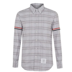 THOM BROWNE Men Checked Arm Band Shirt short Med Grey 035 new look on clearance C2GRY1363