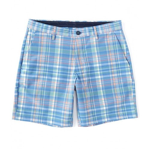 Tommy Bahama Beach Front Plaid Stretch 8 Inseam Flat-Front Recycled Materials Shorts plus size for Male Clearance URGRY6713